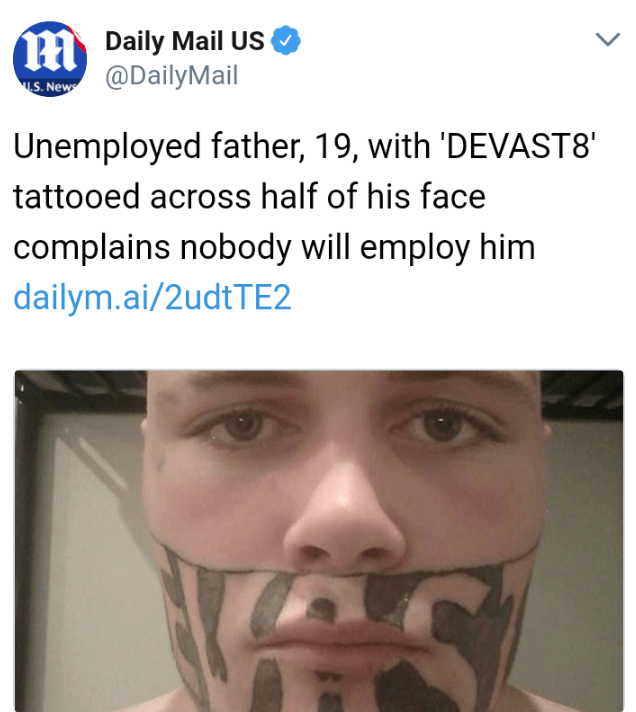 headline about man with tattoo on face not being able to find a job