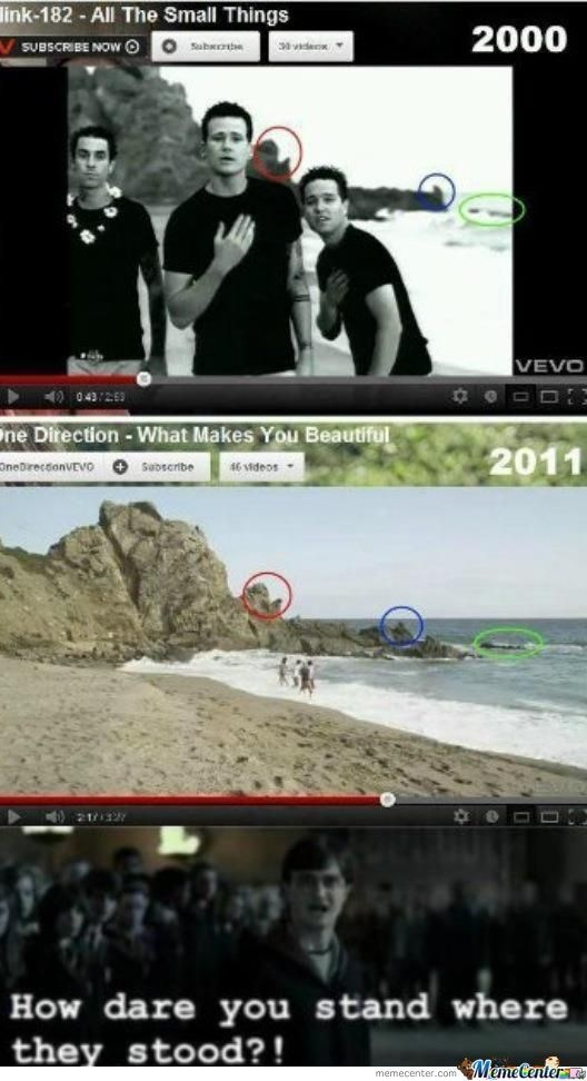 Harry Potter reacting accusingly to One Direction filming music video in same location as Blink 182