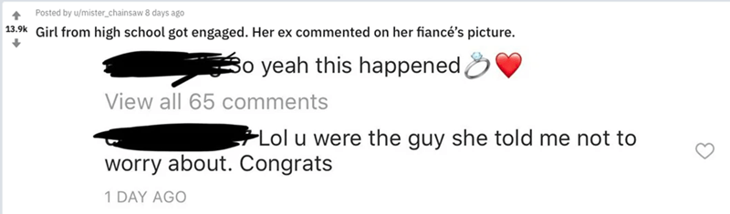 guy leaves cringey comment on ex girlfriend's engagement announcement