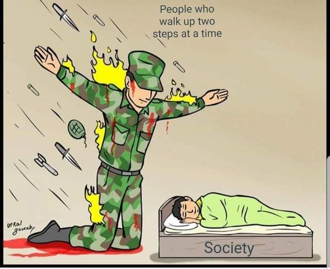 the silent protector meme about people who go up 2 stairs at a time sacrificing themselves for society