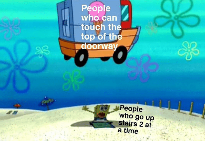 Spongebob meme about who can beat people who go up 2 stairs at a time