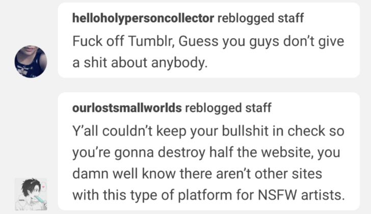 Text - helloholypersoncollector reblogged staff Fuck off Tumblr, Guess you guys don't give a shit about anybody. ourlostsmallworlds reblogged staff Y'all couldn't keep your bullshit in check you're gonna destroy half the website, you damn well know there aren't other sites with this type of platform for NSFW artists.
