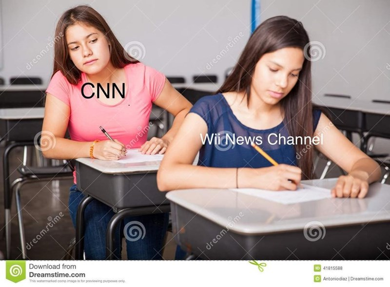 "Stock photo of one girl, who represents ""CNN,"" cheating off of another girl's, who represents, ""Wii News Channel,"" test in a classroom"