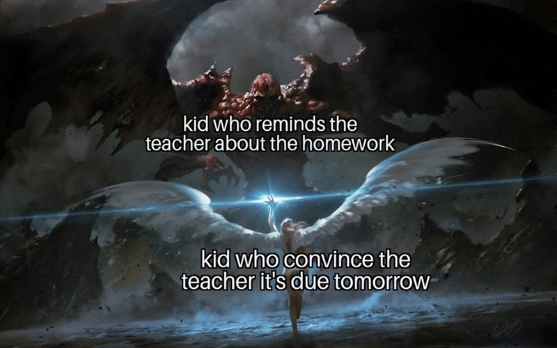 dank meme about two types of students represented by angel and demon fighting