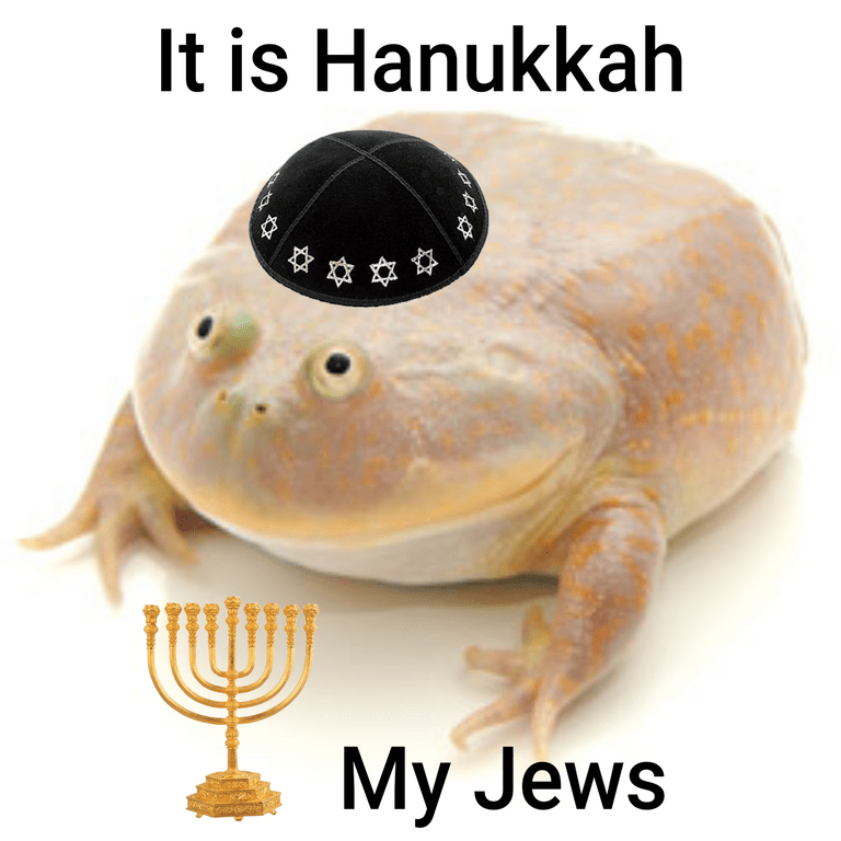 """Pic of the 'It is Wednesday my dudes' frog with text that reads, """"It is Hanukkah, my Jews"""""""