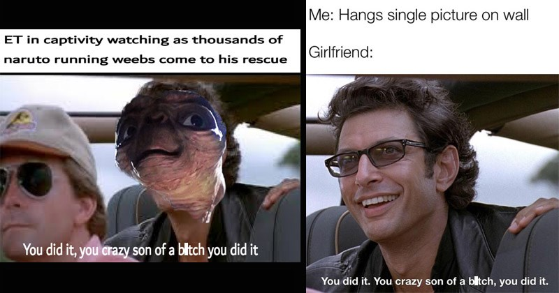 "Funny Jeff Goldblum memes entitled, ""You Did It, The Crazy Son Of A Bitch, You Did It"""