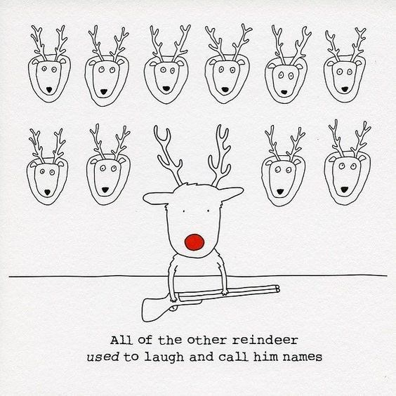 Line art - All of the other reindeer used to laugh and call him names