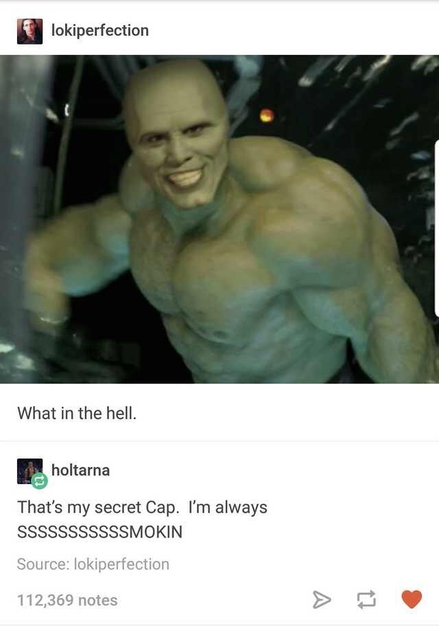 Tumblr thread with funny picture of Jim Carrey's The Mask photoshopped onto Hulk's body