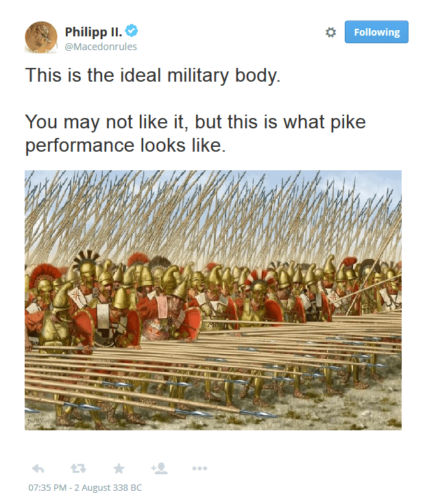 """funny tweet parodying the """"ideal body"""" meme with picture of the Macedonian phalanx"""
