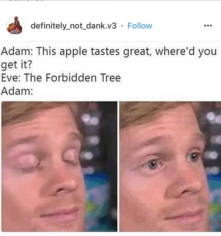 funny blinking guy meme about Eve feeding Adam an apple from the Forbidden Tree