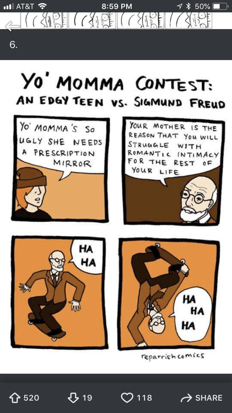 "comic about Sigmund Freud being a savage at ""yo mamma"" jokes"