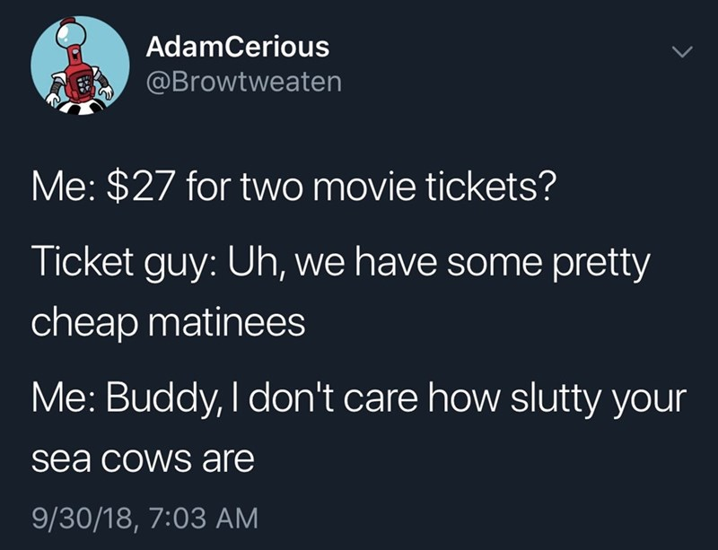 tweet about mistaking matinees for manatees