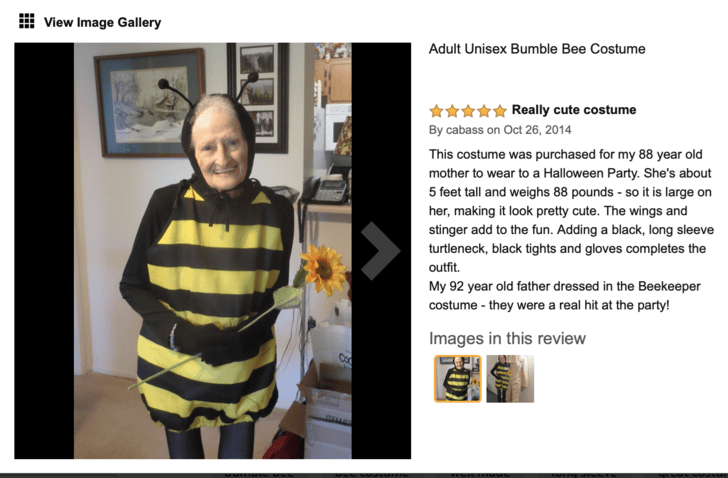 review of the bee costume worn by the granny and describing her height and other details about the costume