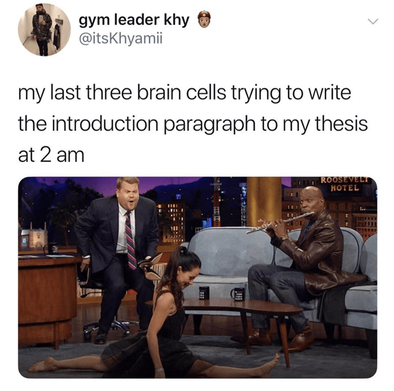 meme about writing your thesis the night before represented by chaotic scene with Lucy Liu and Terry Crews