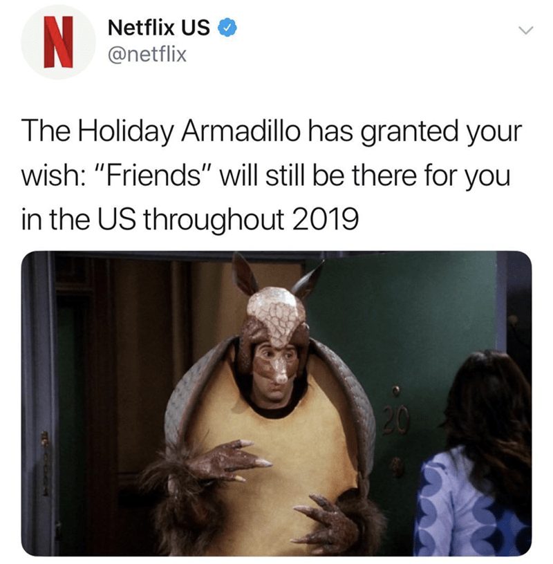 tweet from Netflix about keeping Friends on their service with picture of Ross dressed as an armadillo