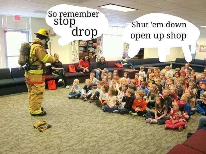 meme about DMX song Ruff Ryders Anthem with picture of kids instructed by firefighter