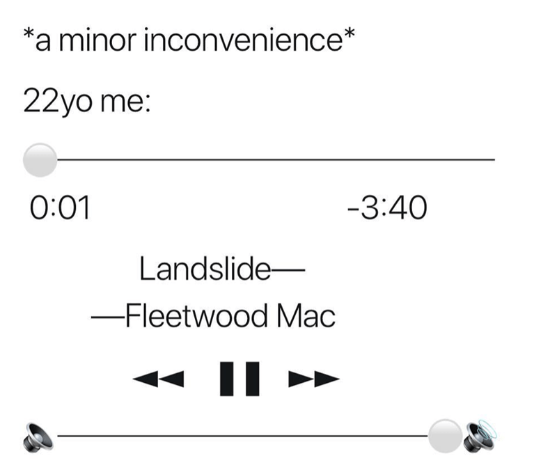 meme about being 22 and coping with life by listening to Fleetwood Mac
