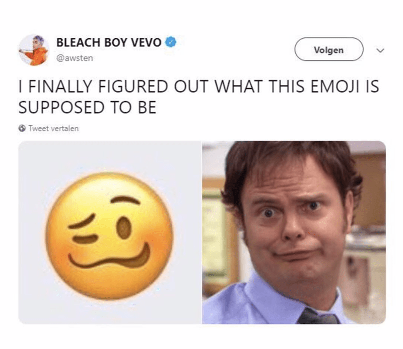 tweet about new emoji resembling Dwight from The Office