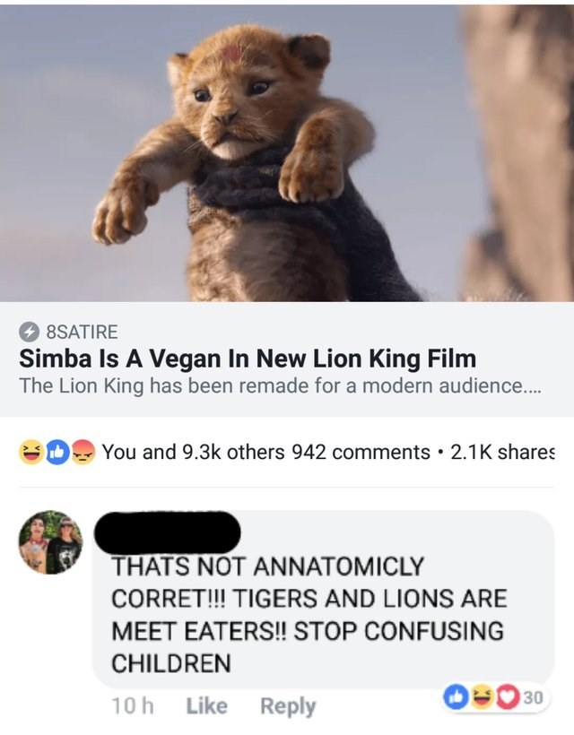 Teddy bear - 8SATIRE Simba Is A Vegan In New Lion King Film The Lion King has been remade for a modern audience... You and 9.3k others 942 comments 2.1K shares THATS NOT ANNATOMICLY CORRET!! TIGERS AND LIONS ARE MEET EATERS!! STOP CONFUSING CHILDREN 30 Like Reply 10 h