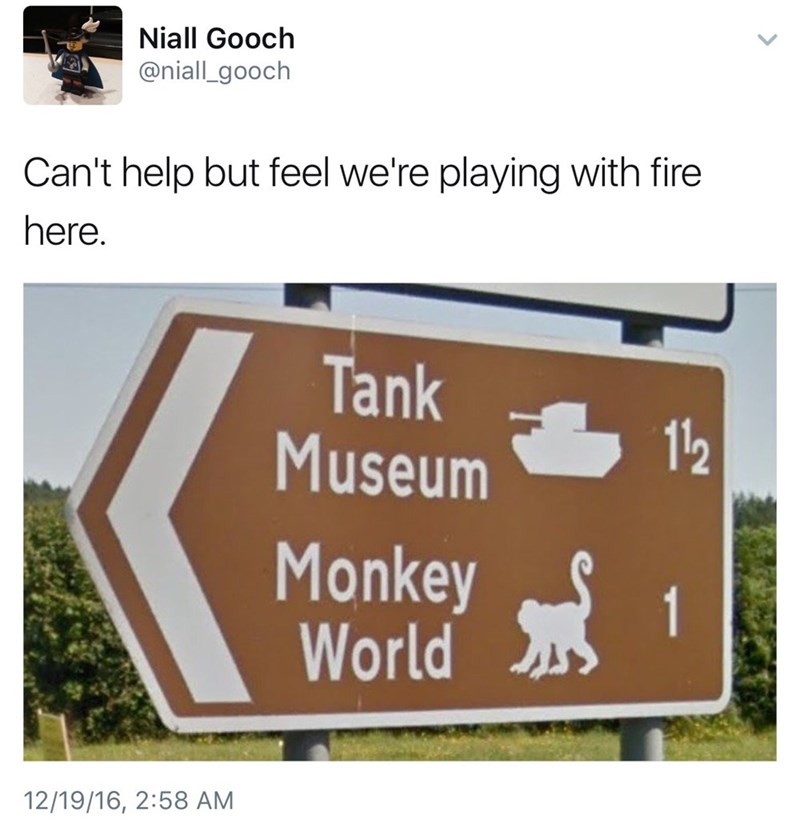 Funny meme about tanks being near monkeys, planet of the apes, twitter.