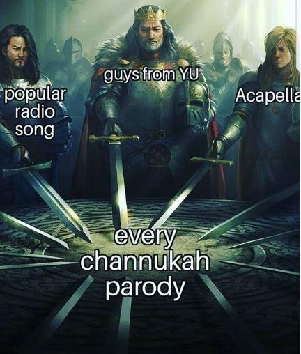 meme about how Hanukkah parody's are created