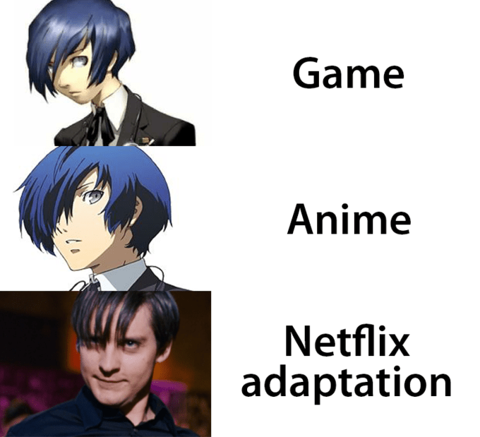 Netflix adaptation meme about Persona character turning into Toby McGuire