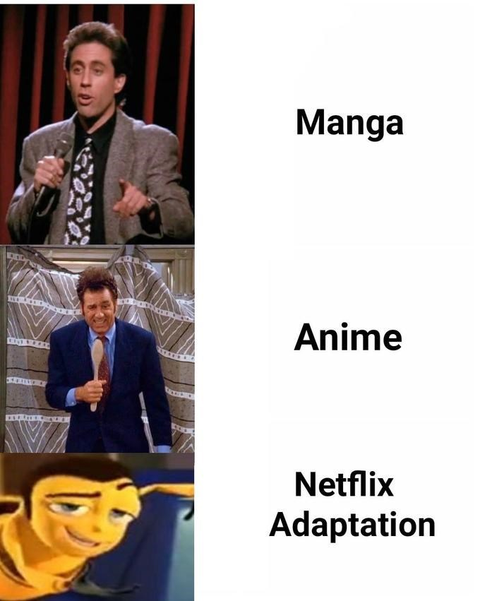 Netflix adaptation meme about Seinfeld and the Bee Movie