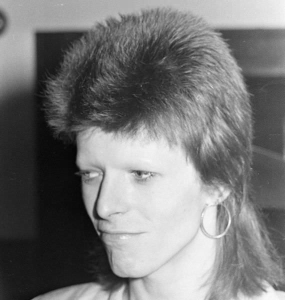 Mullet on young David Bowie