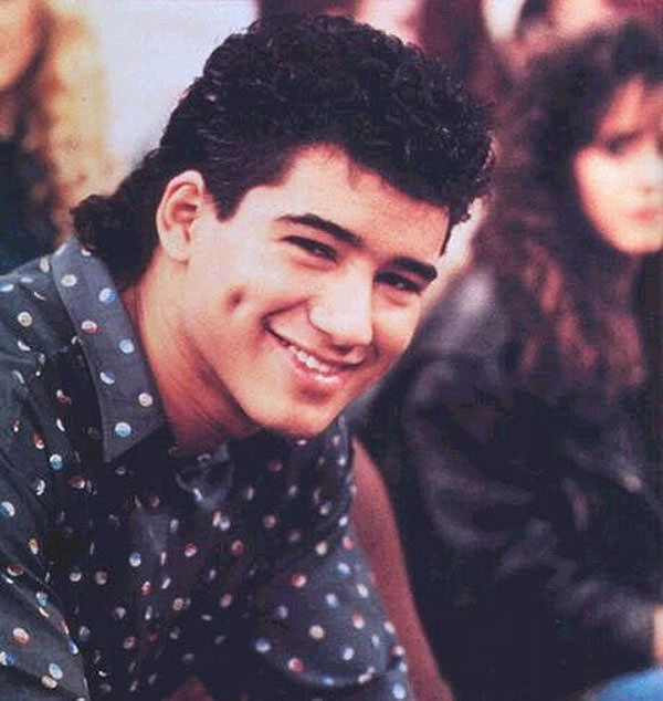 Mullet on young Mario Lopez as AC Slater in Saved By the Bell