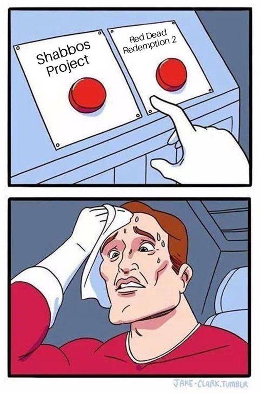 meme about being conflicted to keep Sabbath or play red dead redemption 2