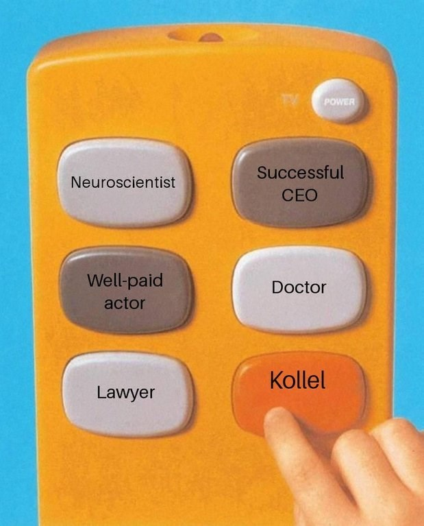 """meme about stating that your profession is at """"Kollel"""""""