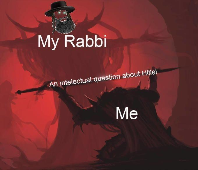 meme about asking your rabbi a question