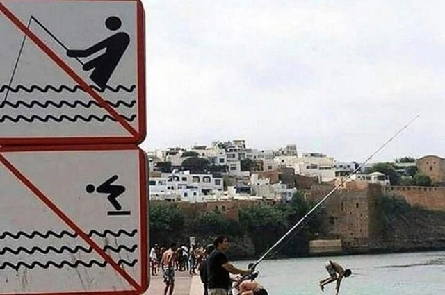 """photo of """"no fishing"""" and """"no diving"""" signs in front of people fishing and jumping into the water"""