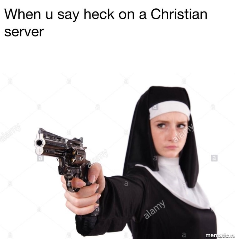 stock photo of nun threatening people who say bad words with gun