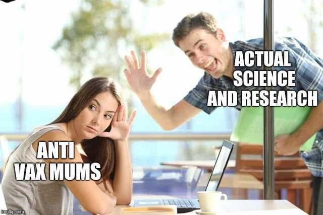 stock photo of woman ignoring man in meme about anti vaxxers avoiding scientific facts