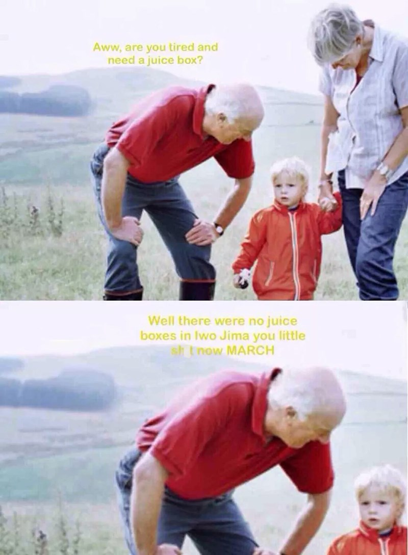 stock photo of grandparents walking with boy in meme about grandpa being emotionally scarred by wars