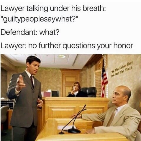 stock photo of courtroom and meme about sneaky lawyers using tricks to win cases
