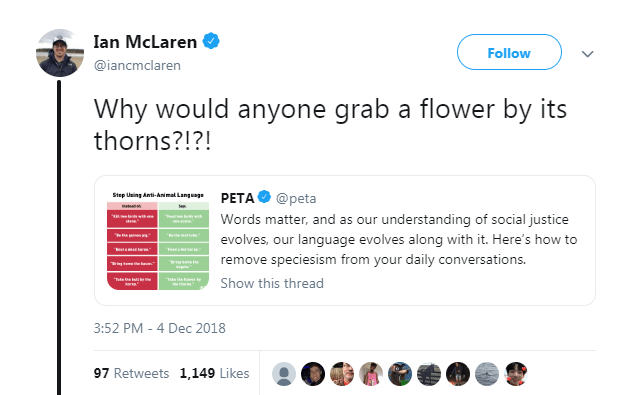 Text - Ian McLaren Follow @iancmclaren Why would anyone grab a flower by thorns?!?! its PETA Step Using Anti-Animal Lang uage @peta ns our understanding of social justice Words matter, and as w- evolves, our language evolves along with it. Here's how to tat remove speciesism from your daily conversations. Show this thread 3:52 PM - 4 Dec 2018 97 Retweets 1,149 Likes