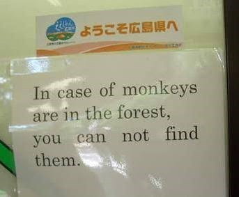 In case of monkeys are in the forest, you can not find them.
