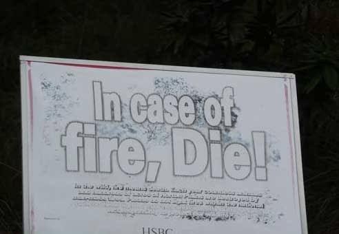 Text - In caserot fire, Die! HSBC