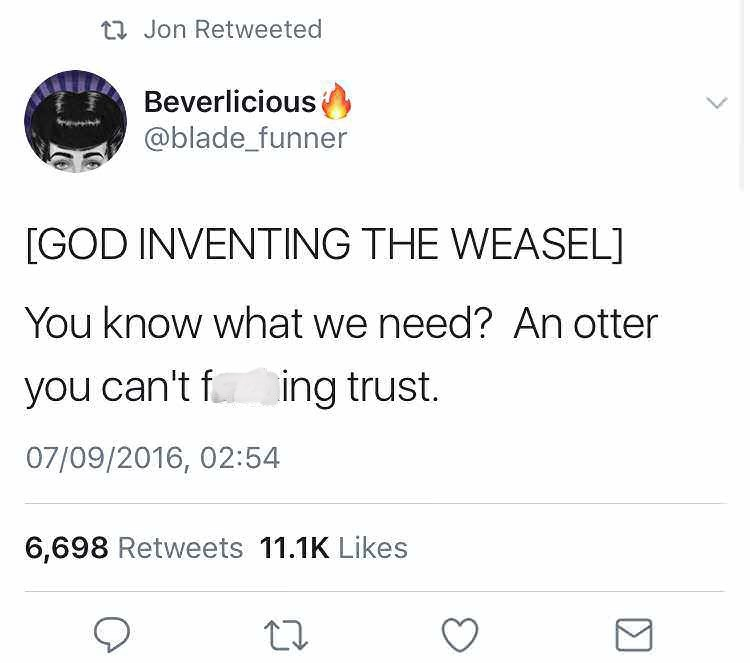tweet about not being able to trust weasels
