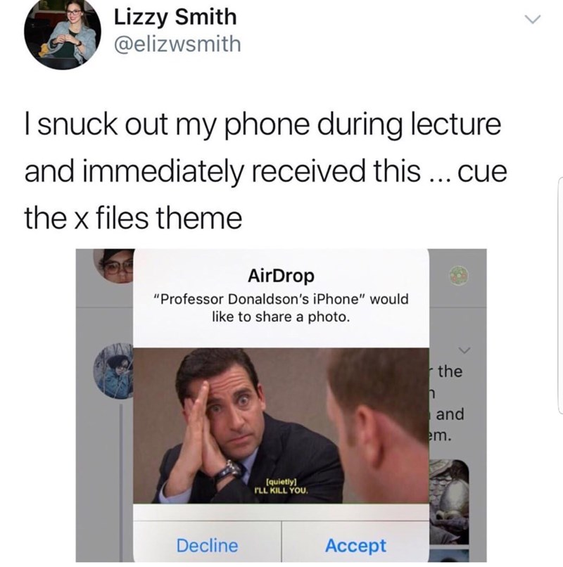 "tweet aboot a student who got a meme from his professor that says he will be ""killed"" after he left class"
