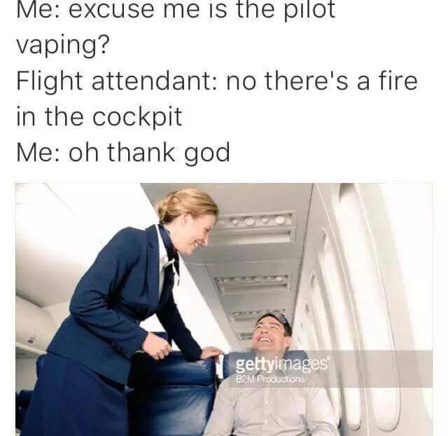 Text - Me: excuse me is the pilot vaping? Flight attendant: no there's a fire in the cockpit Me: oh thank god gettyimages B2MProductions