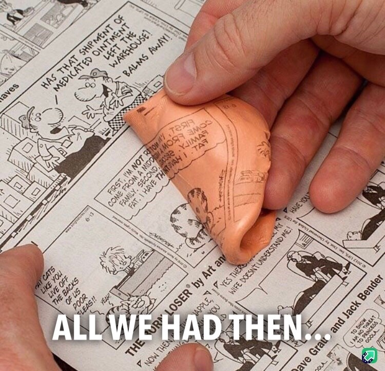 Pic of someone making newspaper imprints on Silly Putty