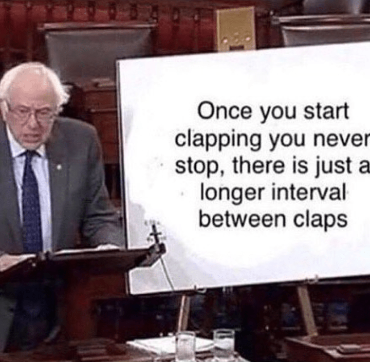 Font - Once you start clapping you never stop, there is just a longer interval between claps