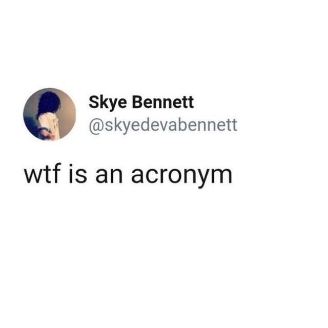 Text - Skye Bennett @skyedevabennett wtf is an acronym