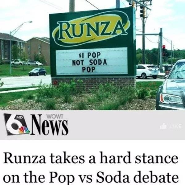 Motor vehicle - RUNZA $1 POP NOT SODA POP News WOWT HD KE Runza takes a hard stance on the Pop vs Soda debate