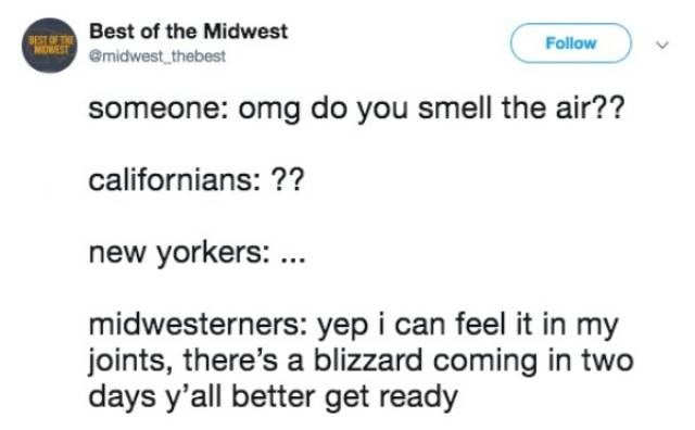 Text - BEST OTBest of the Midwest emidwest thebest Follow MOWEST someone: omg do you smell the air?? californians: ?? new yorkers: midwesterners: yep i can feel it in my joints, there's a blizzard coming in two days y'all better get ready