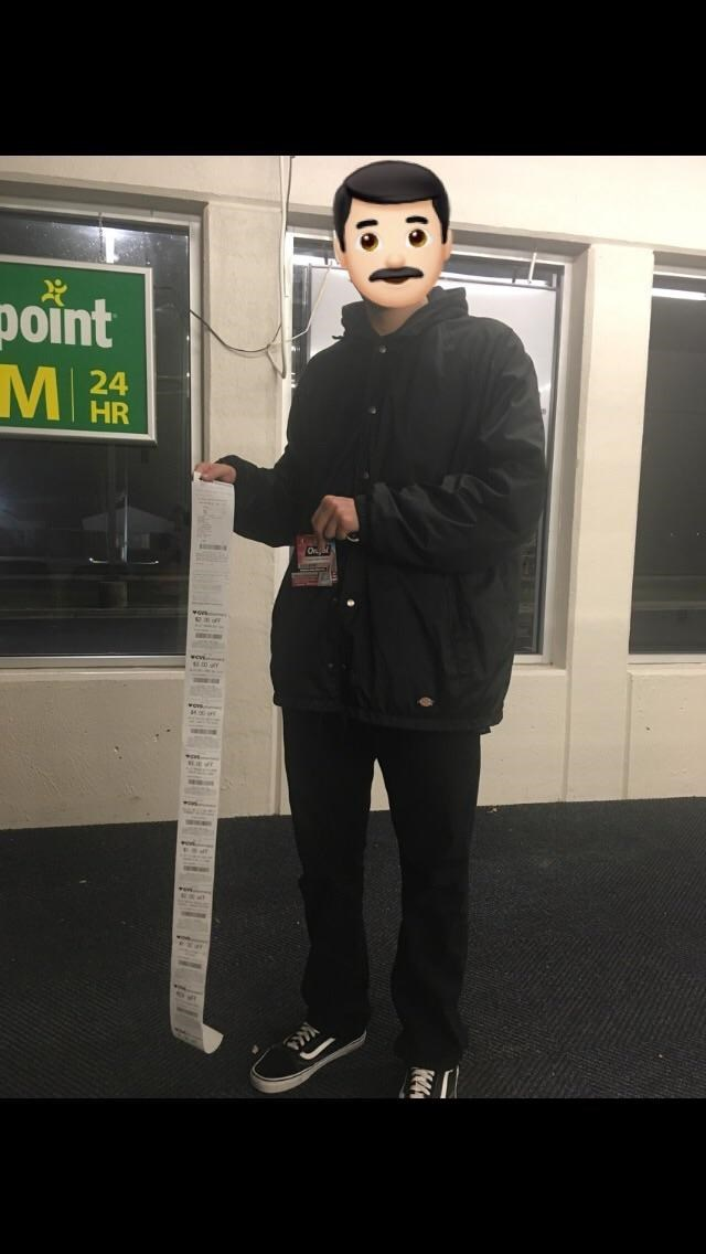 CVS receipt meme after purchasing one item it's almost as tall as him