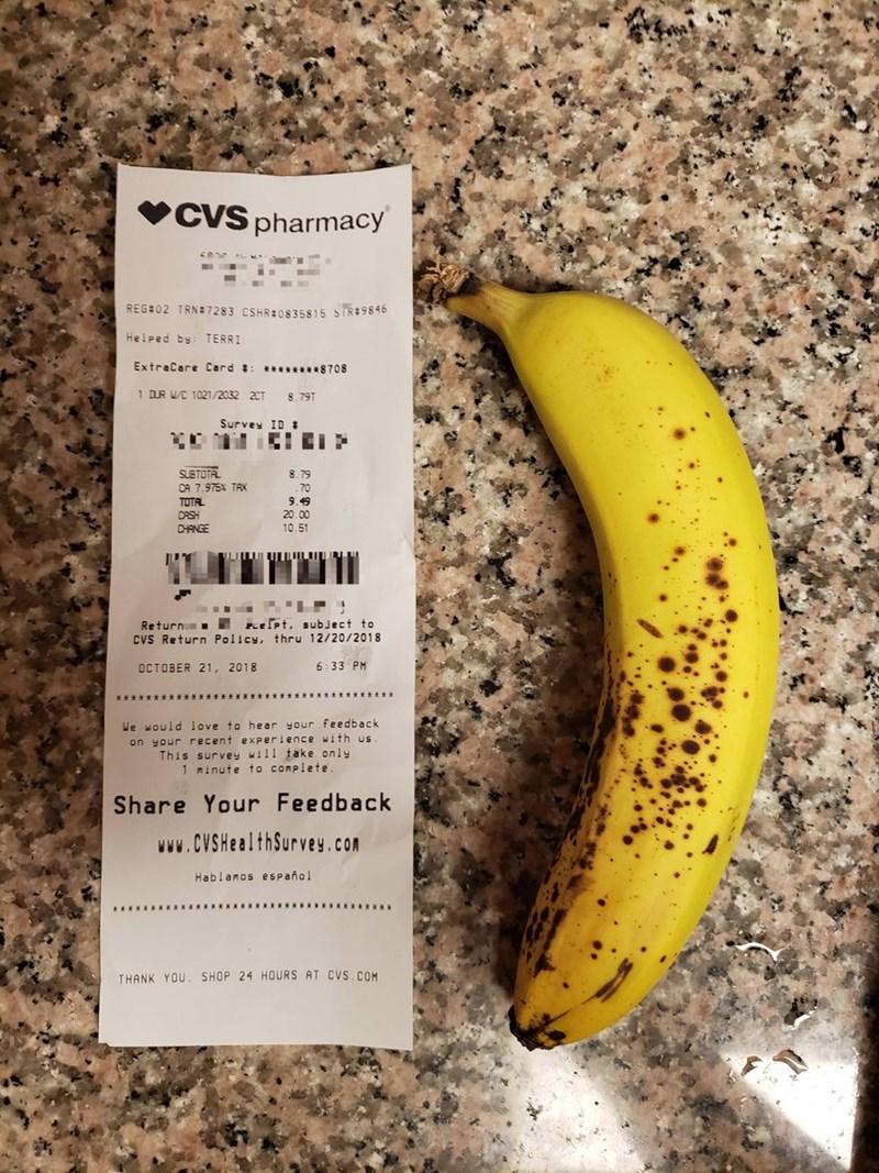 CVS receipt meme that the shortest receipt is still longer than a banana